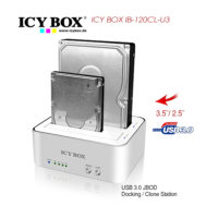 ICY BOX 2 bay JBOD docking and cloning station for SATA HDDs and SSDs with USB 3.0 (IB-120CL-U3)