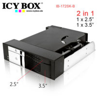 """ICY BOX Trayless module for 1x 2.5"""" and 1x 3.5"""" SATA HDDs in 1x 5.25"""" bay (IB-172SK-B)"""