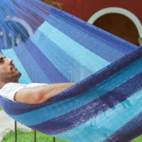 King Size Cotton Hammock in Caribean Blue