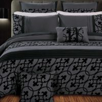 King Size Flocking Charcoal Black Quilt Cover Set (3PCS)
