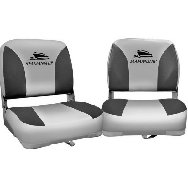 Seamanship Set of 2 Folding Swivel Boat Seats - Grey