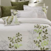 Super King Size Sylvan Green Leaf Pattern White Quilt Cover Set(3PCS)