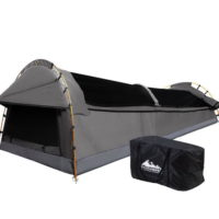 Weisshorn Double Swag Camping Swags Canvas Tent Deluxe Grey With Mattress
