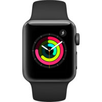 Apple Watch Series 3 - 38mm Space Gray Aluminium Case with Black Sport Band - MQKV2