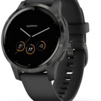 Garmin vivoactive 4S GPS Smartwatch with Wrist-based Heart Rate - Slate Stainless Steel Bezel with Black Case and Silicone Band (010-02172-12) (Support EU languages)