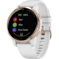 Garmin vivoactive 4S GPS Smartwatch with Wrist-based Heart Rate - Rose Gold Stainless Steel Bezel with White Case and Silicone Band (010-02172-22) (Support EU languages)