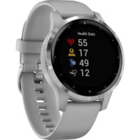 Garmin vivoactive 4S GPS Smartwatch with Wrist-based Heart Rate - Silver Stainless Steel Bezel with Powder Gray Case and Silicone Band (010-02172-02) (Support EU languages)